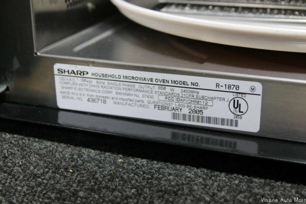 Used Rv Motorhome Sharp Carousel Convection Microwave Oven Model R 1870 Sn