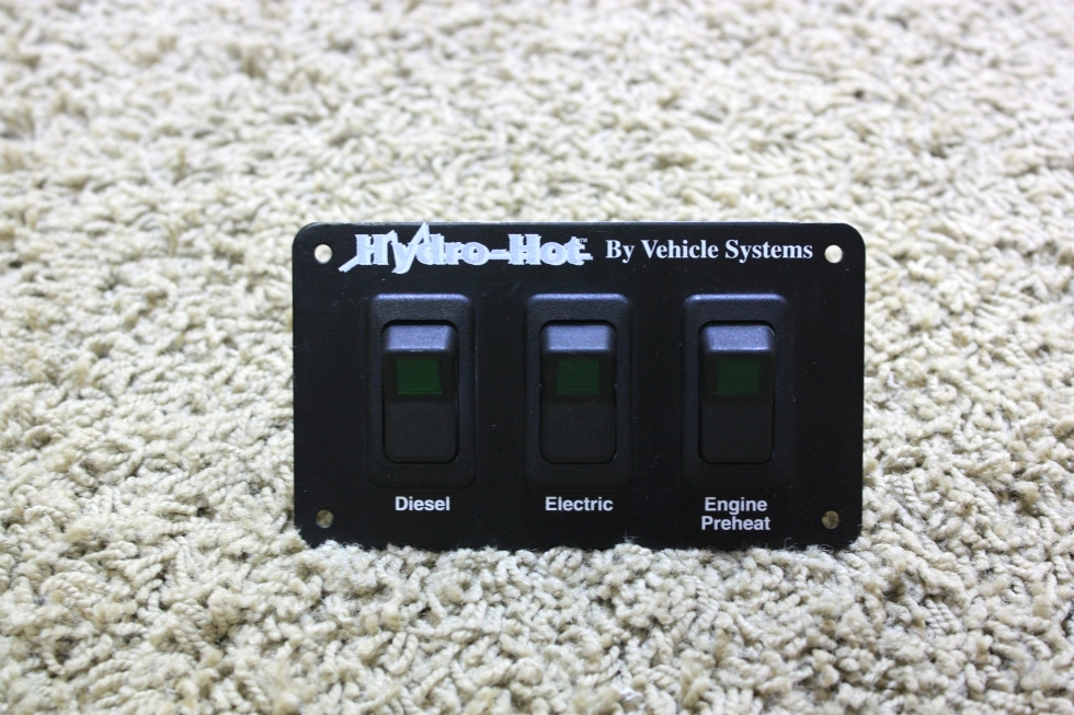 USED RV HYDRO-HOT BY VEHICLE SYSTEMS THREE SWITCH PANEL FOR SALE