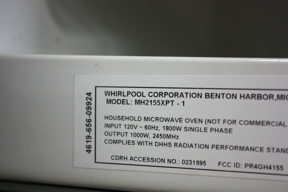USED RV WHIRLPOOL MICROWAVE OVEN MH2155XPT-1 FOR SALE