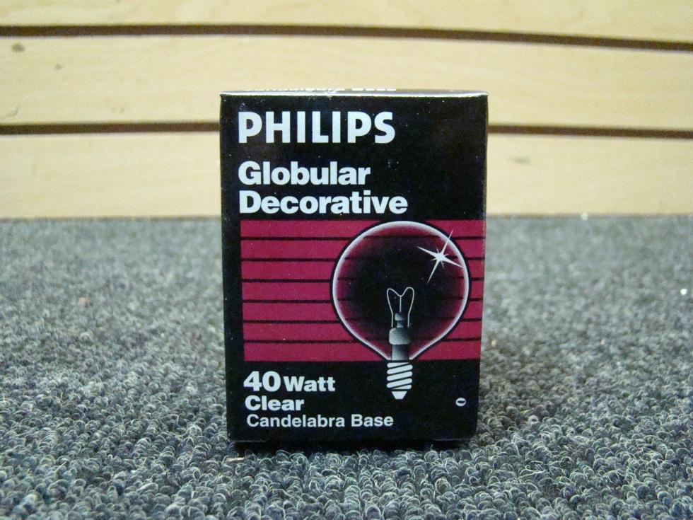 NEW RV OR HOME PHILIPS GLOBULAR DECORATIVE 40W CLEAR BULB