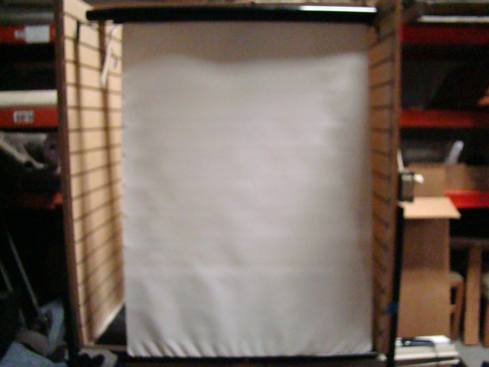 USED RV/MOTORHOME SET OF 2 WHITE VINYL ELECTRIC SHADES FOR SALE