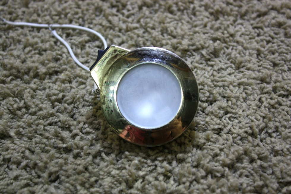 USED MOTORHOME GOLD PUCK LIGHT WITH ON/OFF SWITCH FOR SALE