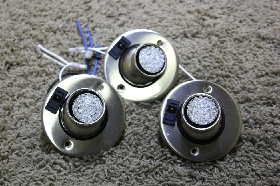 USED SET OF 3 SWIVEL READING LIGHT FIXTURES WITH LED BULBS RV PARTS FOR SALE