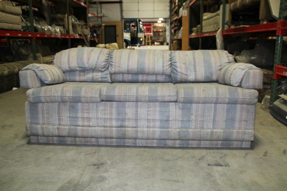 used rvmotorhome vintage winnebago sleeper sofa blue cloth