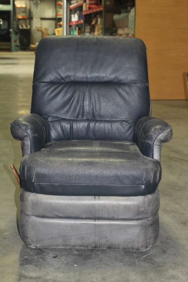 Rv Furniture Used Rv Motorhome Blue Leather Prevost Swivel