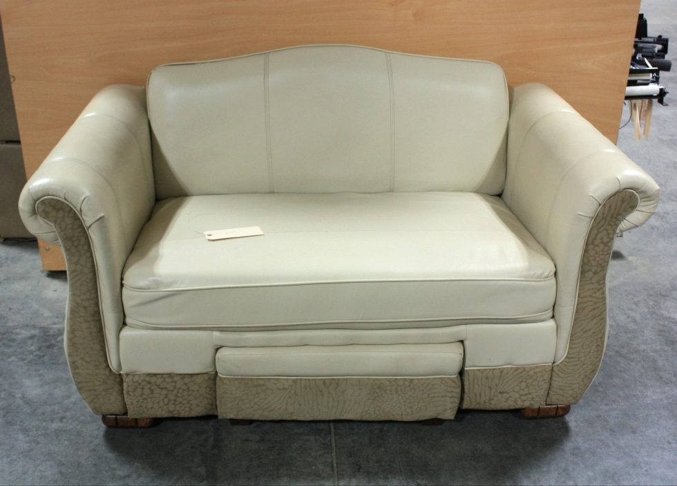 Rv Furniture Used Leather Suede Flexsteel Loveseat With Foot Rest For Sale Couches Flexsteel