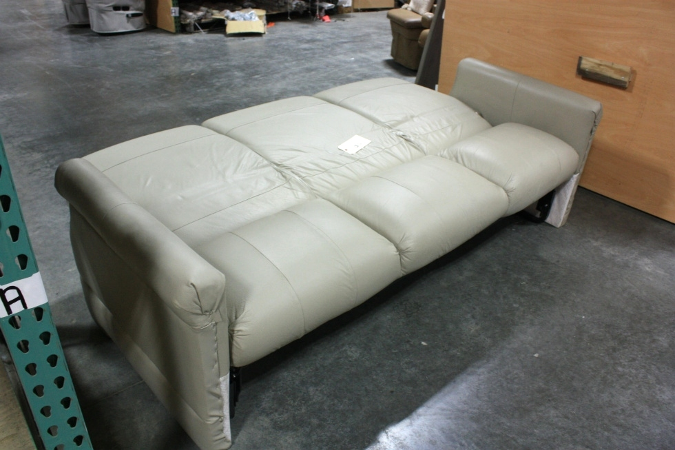 USED RV FLEXSTEEL TAN VINYL JACK KNIFE SLEEPER SOFA FOR SALE