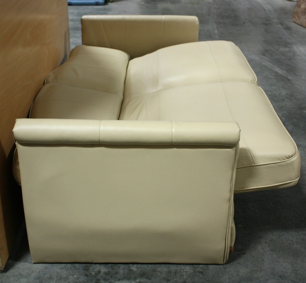 Rv furniture used rv ultra leather jack knife sleeper sofa for Used leather sectional sleeper sofa