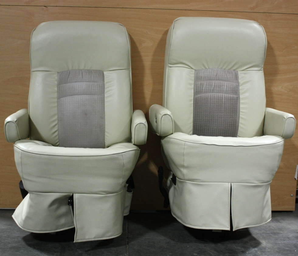 USED SET OF 2 FLEXSTEEL LEATHER & CLOTH CAPTAIN CHAIRS RV FURNITURE FOR SALE