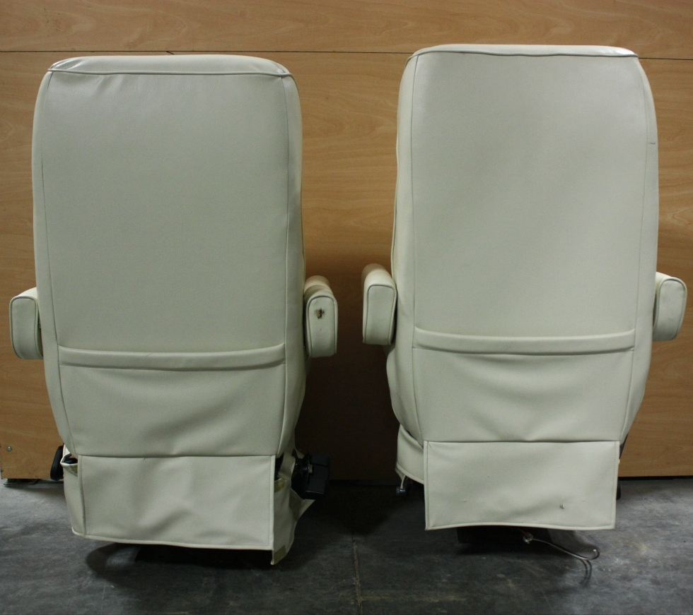 used set of 2 flexsteel leather u0026 cloth captain chairs rv furniture for sale